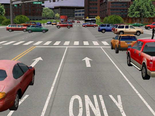 An intersection inside Springfield, the virtual testing
