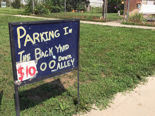 A sign in Veronica Goltz's front yard directs fairgoers