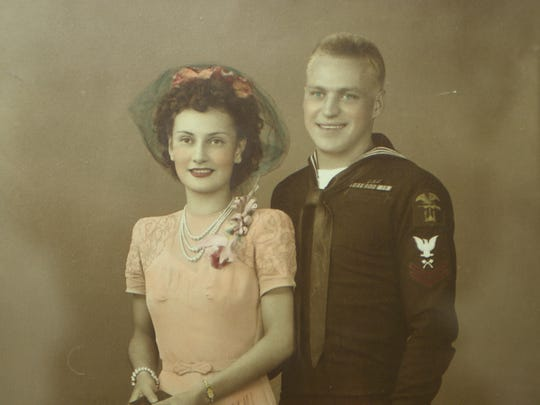 Lola and Frank Korker on their wedding day -- Aug. 6, 1945.