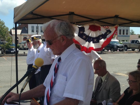 Mayor James Eichelberger speaks at a groundbreaking ceremony for the Town of Parksley Jerry C. Burkhead War Memorial on Saturday, Aug. 13, 2016 in Parksley, Virginia.