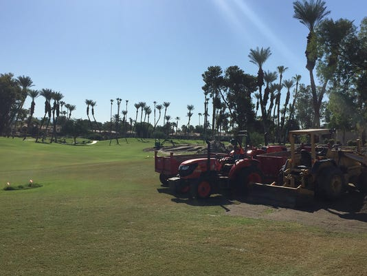 Work on the second fairway at Desert Horizons Country Club