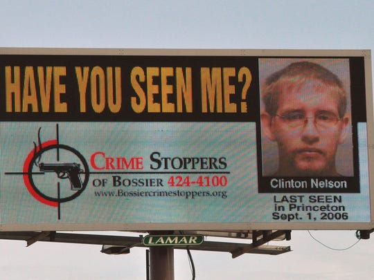 Billboard display of Clinton Nelson, who has been missing
