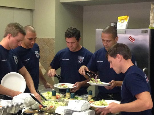 Montgomery's Olive Garden catered lunch to local Montgomery Fire and Rescue personnel at Station 15 on Taylor Road on Labor Day.