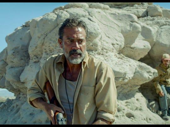 "Jeffrey Dean Morgan, left, plays a deranged vigilante hunting a group of migrants, led by Gael García Bernal, on the U.S.-Mexico border in the suspense-thriller ""Desierto."""