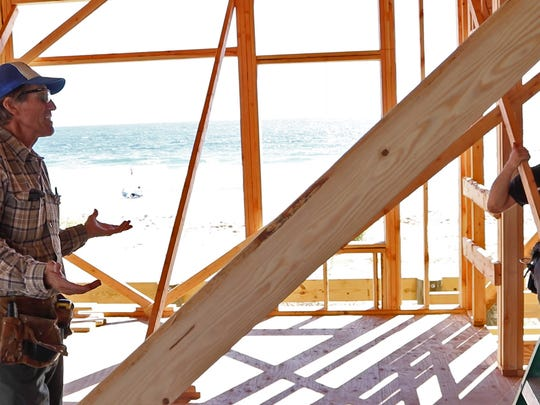 Scott Edrington checks on the progress of his builders everyday as work on his house in Ortley moves along smoothly.