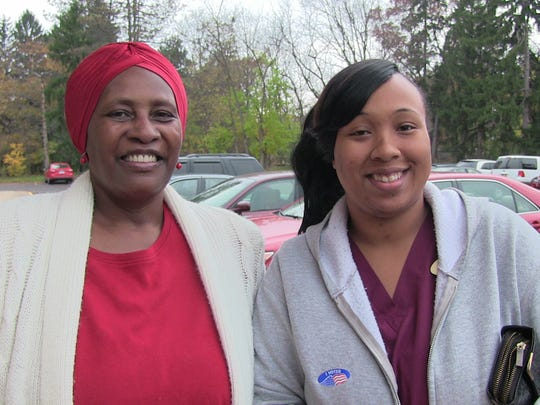 Battle Creek voters Dawn Armstrong, left, and Shiann Chambers voted for Hillary Clinton in Tuesday's election.