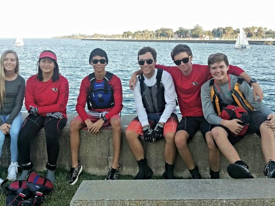 The South Fork High School Bulldogs Sailing Team members at the Great Oaks Invitational in New Orleans. Featured are Sarah Tigges, crew Yazmeen Simpson, skipper Nick Ochalek, crew Trevor Tigges, crew Griffin Pollis and Jensen Beach Team crew Jaxson Stehlin.