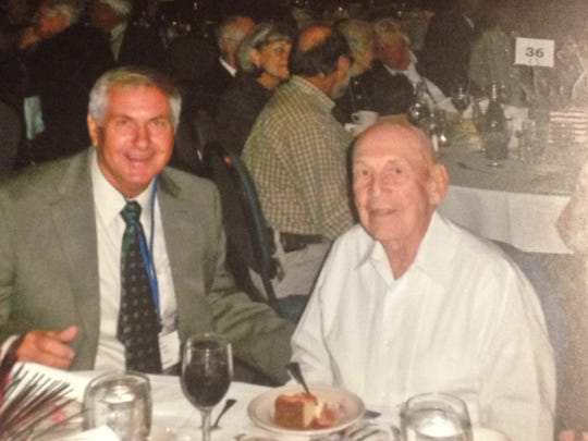 James Lawrence, left sits with Dick Cole, the last