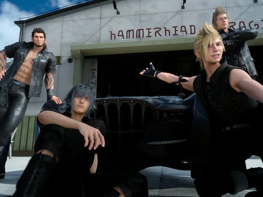 Leather and a souped-up car figure prominently in Final Fantasy XV's main entourage.