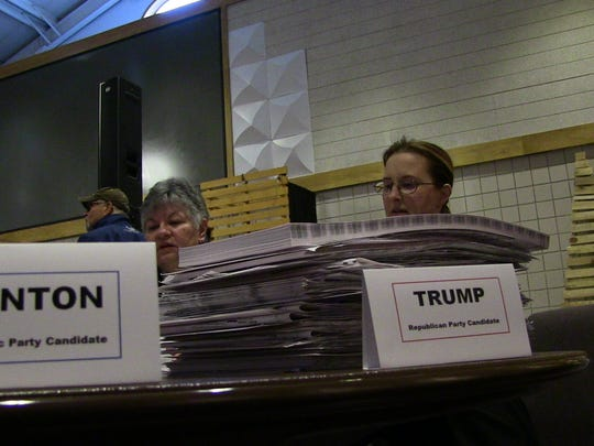 Recount team members Linda Smith, left, and Tabitha Mingus look over ballots Wednesday.