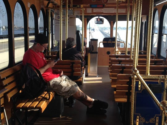 LeeTran's new seasonal trolley service connecting North Fort Myers and Fort Myers' historic district is less than a month old. Ridership is low on on weekdays like this one. However, transit leaders say the service already gaining a following on weekends.