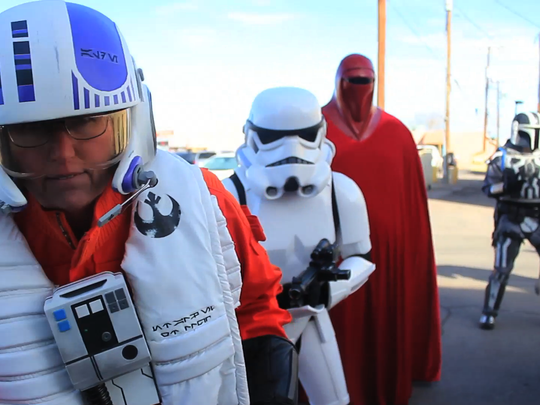 """Storm Troopers from the movie """"Star Wars"""" made a cameo in the Alamogordo Mannequin Challenge along with other popular characters in Alamogordo's Historic Downtown Sunday, Feb. 19."""