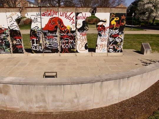 Eight pieces of the Berlin Wall are on display outside the museum and were carved by Winston Churchill's granddaughter, an artist.