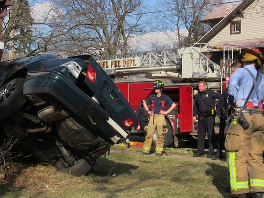 The Battle Creek Fire Department and the Battle Creek Police Department were investigating a car crashed into a house Monday.