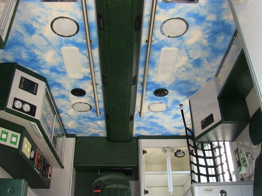 Blue skies await kids who need a lift to a health care facility in a new pediatric transport ambulance.