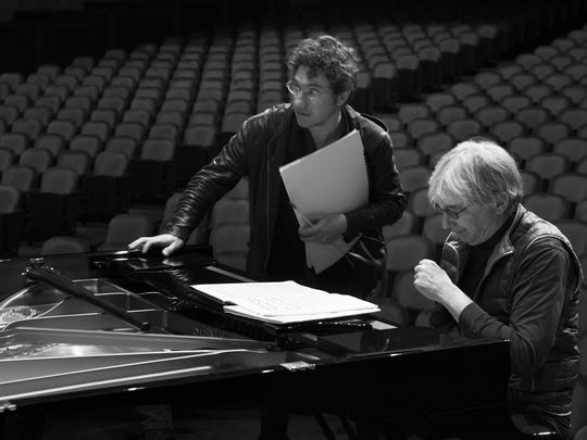 Louisville Orchestra music director Teddy Abrams with San Francisco Symphony music director Michael Tilson Thomas.