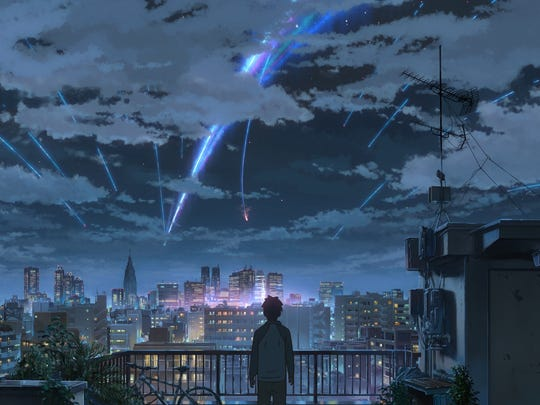 """A scene from Japanese anime film """"Your Name,"""" which"""