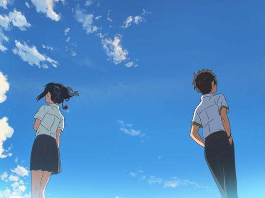 "High schoolers Mitsuha (voiced by Stephanie Sheh) and Taki (voiced by Michael Sinterniklaas) are connected together across time and space through a unique body swapping journey in the animated film, ""Your Name.,"" directed by Makoto Shinkai."