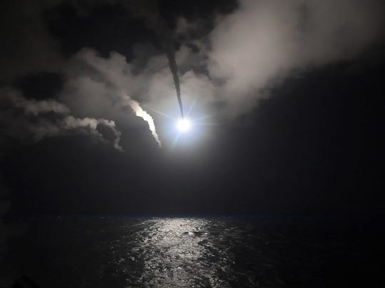In this image provided by the U.S. Navy, the guided-missile