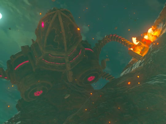 "Mechanical ""Divine Beasts"" serve as both bosses and dungeons in ""Legend of Zelda: Breath of the Wild."""