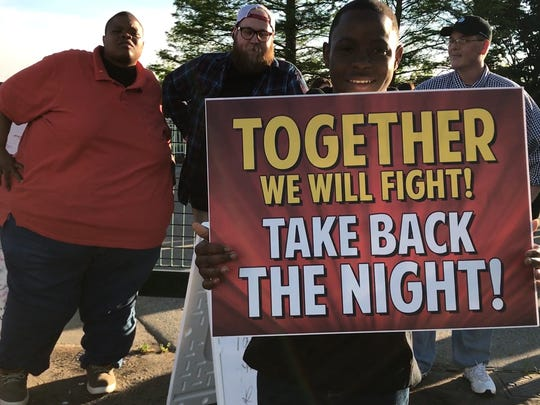 Participants from a previous Take Back the Night. The event is Thursday at 6 p.m. at the Four Freedoms Monument on Evansville's riverfront.