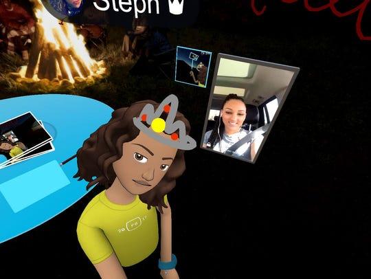 Stephanie Taylor using Oculus Rift, calling a friend