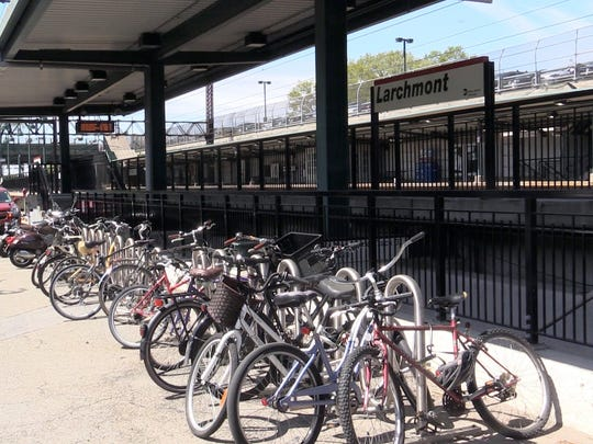 Bicycles parked at the Larchmont train station.