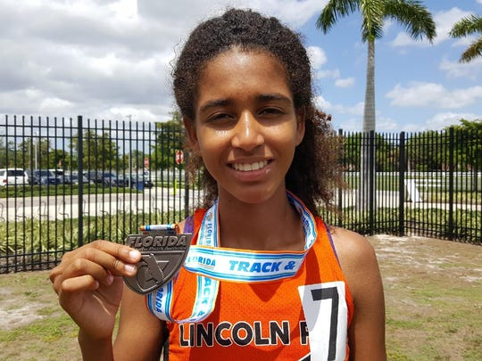 Lincoln Park Academy eighth grader Christen McCann finished sixth in the girls Class 2A 800 by running a 2:18.08.