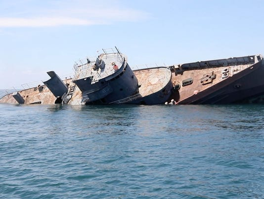 The USS Tamaroa a former Coast Guard ship being sunk 30 miles off of Cape May to be an addition to an artificial reef of sunken vessels. .