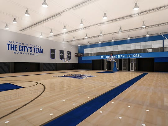 An artist's rendering shows the court at the new Memphis basketball practice facility.