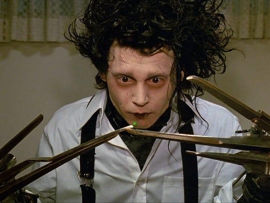 "Johnny Depp in the 1990 Tim Burton film ""Edward Scissorhands."""