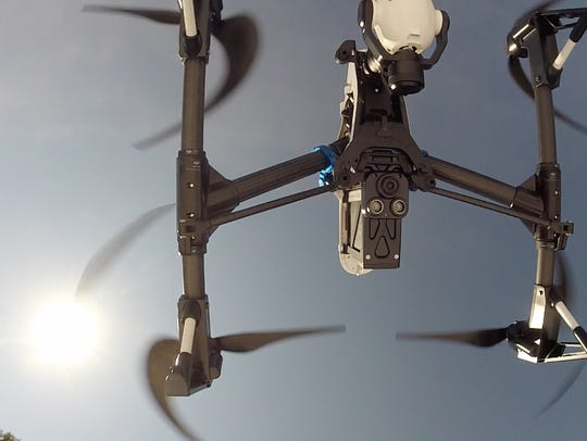 A Clarkstown Police Department drone takes off during