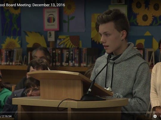Kolby LaMarche speaking at a December 13, 2016 meeting of the Burlington School Board.