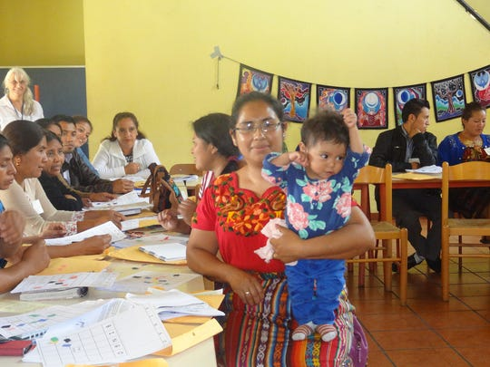 Genelle Grant and other members of the GRACE Project help train teachers in  in San Lucas Tolimán, Sololá, Guatemala in May 2017.