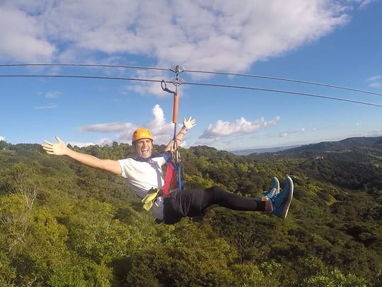Joey Huempfner is pictured on a zip line in New Zealand.