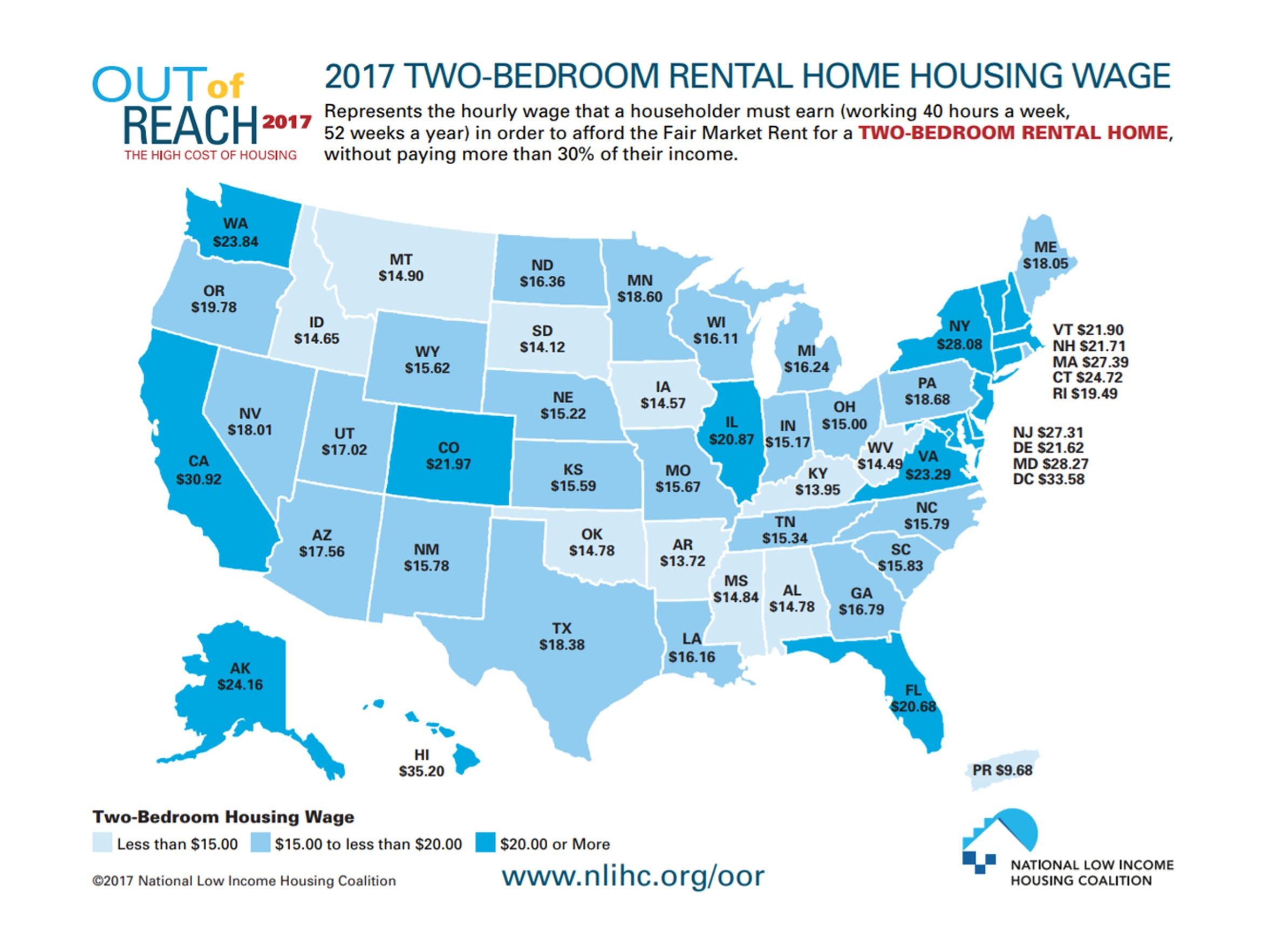 A look at how much income you need to make to afford a two-bedroom apartment in each state without paying more than 30 percent of your income.