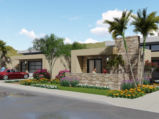 Among the options in the new Salt Creek Heights neighborhood will be a contemporary look with a flat roof.