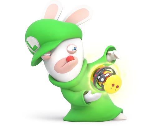 Rabbid Luigi in Mario + Rabbids Kingdom Battle for the Nintendo Switch.
