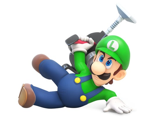 Luigi, a character featured in many Nintendo video games, is often pictured using or alongside a vacuum.
