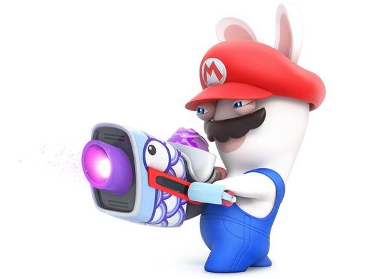 Rabbid Mario in Mario + Rabbids Kingdom Battle for the Nintendo Switch.