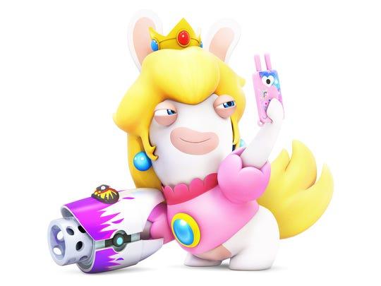 Rabbid Peach in Mario + Rabbids Kingdom Battle for the Nintendo Switch.