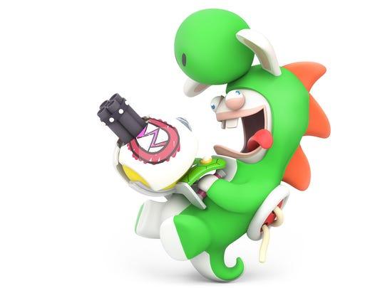 Rabbid Yoshi in Mario + Rabbids Kingdom Battle for the Nintendo Switch.