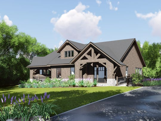 A rendering of the four-bedroom craftsman style group