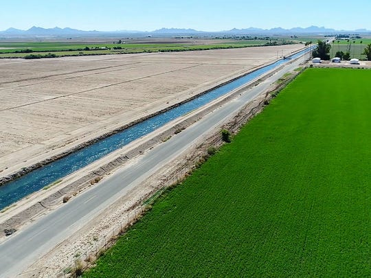 An irrigation canal filled with Colorado River water separates a green field and a dry field in the Palo Verde Valley.