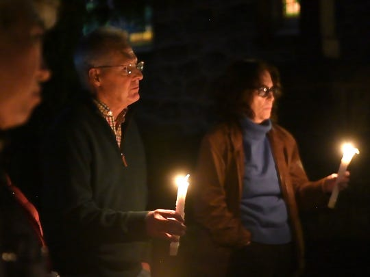 Presbyterian Church in Leonia held a vigil Monday in honor of the victims of the Las Vegas shooting.