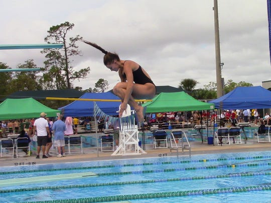 Bishop Verot diver Julia Czerski competes in Wednesday's District 1A-9 Championships at the FGCU Aquatic Center