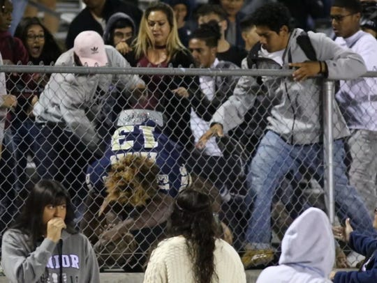 A fight broke out in the home stand at Desert Hot Springs