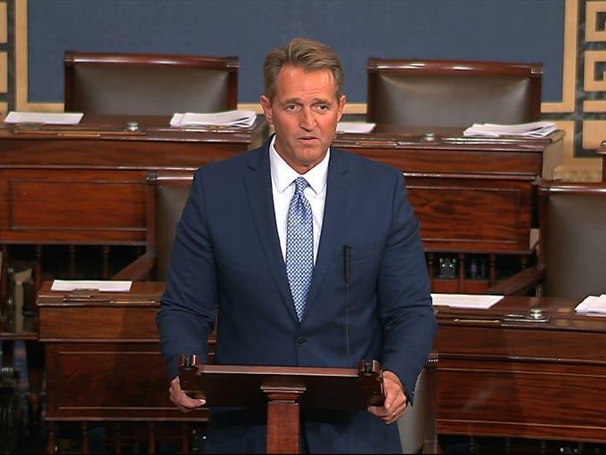Sen. Jeff Flake, R-Ariz., speaks on the Senate floor