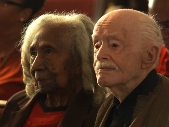 "The titular couple enjoy a quiet moment in ""Edith + Eddie,"" a documentary which follows their journey as America's oldest living interracial newlyweds."