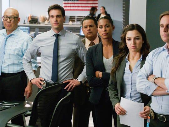 "Jessica Meraz, second from right, stars in a scene from TNT's ""Major Crimes."""